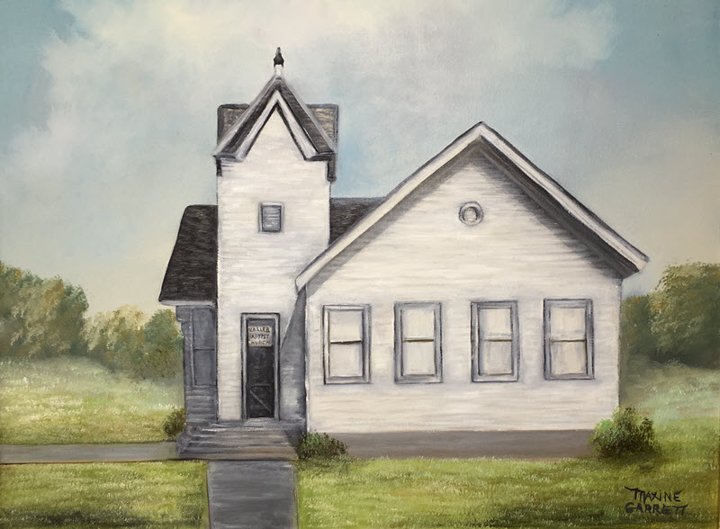 Oil painting of a white frame church with a black shingle roof.