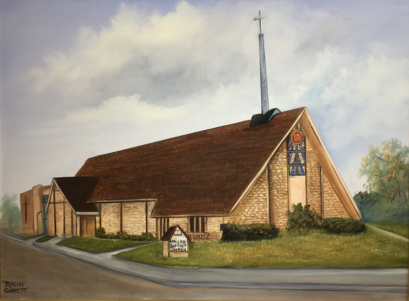 Oil painting of mid-60's church building.