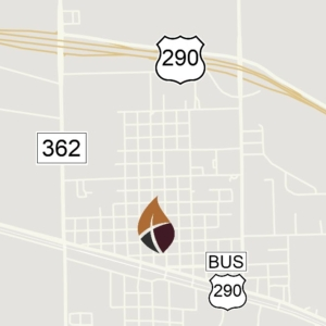 A small, simple map showing the location of the church in Waller.